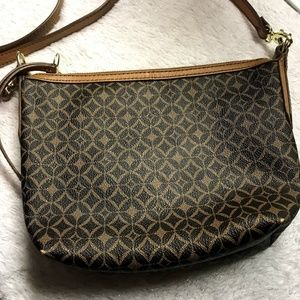 Fossil Leather Crossbody in Brown with Medallions